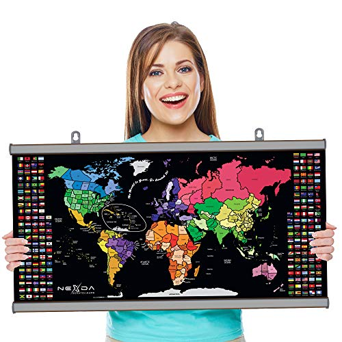 Scratch Off Map of the World with Frame By Nexda - Large 33x17 Inch Colorful Poster - Individual...