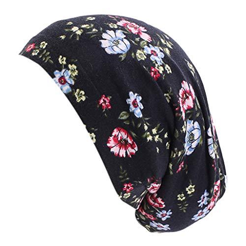 Hellery Bufanda de Gorro de Quimio con Forro de Satén con Volantes de Verano para Mujer, Gorro Ligero, Sombrero para La Cabeza - Negro, talla única