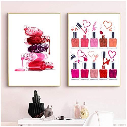 Nagellack Druck Make-Up Schönheit Poster Badezimmer Dekor Eitelkeit Kunst Leinwand Malerei Nagelstudio Studio Wand Dekor-50x70cmx2 kein Rahmen