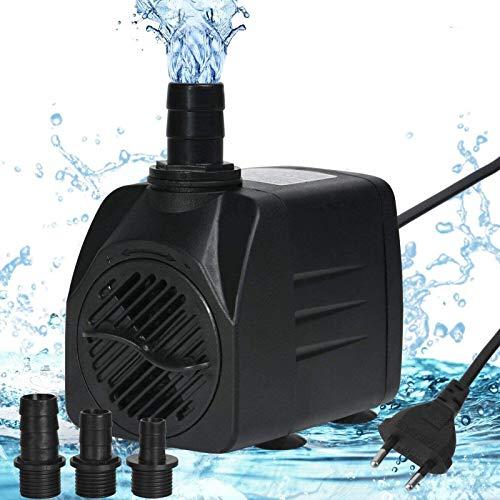 flintronic Pompe Eau Submersible, 1500L/H 25W Pompe Aquarium Ajustable Ultra-Silencieux avec 4 Pieds de Ventouses pour Étang Poisson Fontaine Réservoir de Poissons 3 Buses 13/16/19mm Cordon de 1.4m