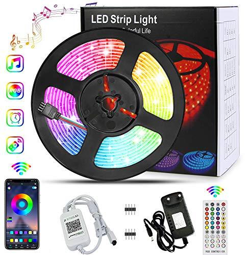 LED Strips 5M, Banral LED Streifen 5050 RGB Farbwechsel LED Lichterkette Sync mit Musik Einstellbare Helligkeit Timing mit APP Bluetooth Kontroller Fernbedienung Netzteil für Haus, Party Dekoration