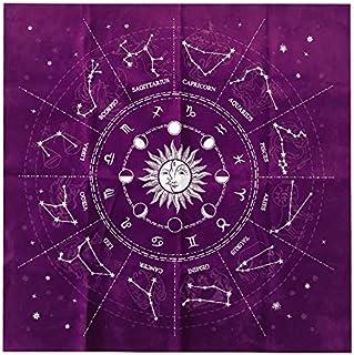 Mantel de Tarot 50cm, Afaneep Mantel de Tarjeta Runa 12 Constelaciones Mantel Astrología Franela Tarot Adivinación Mantel ...