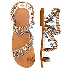 Blue Diamond Rhinestone Pearl Flat Gladiator Sandal With Toe Ring