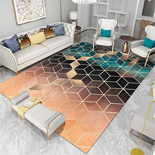 RUGMYW Soft flurteppich Geometrisches quadratisches Muster des 3D bettumrandung Teppich 80X120cm