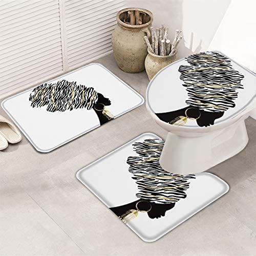 LALADecor 3 Piece Bath Rug Set African Women Bathroom Rug Graffiti Black Girl Afro Non Slip Bath Mats for Bathroom Absorbent Mats Set
