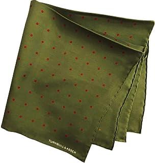 ターンブル&アッサー Turnbll&Asser ポケットチーフ シルクチーフ メンズ 紳士 Silk 英国製 大判 Green/RedDot グリーン レッドドット C093