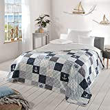 Delindo Lifestyle® Tagesdecke Bettüberwurf MARITIM, für Doppelbett, 220x240 cm, Patchwork Marine blau