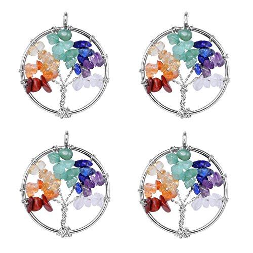 Wholesale 4 PCS Tree of Life Charm Natural Quartz Pendant 7 Chakra Healing Reiki Charm Bulk for Jewelry Making (Silver)
