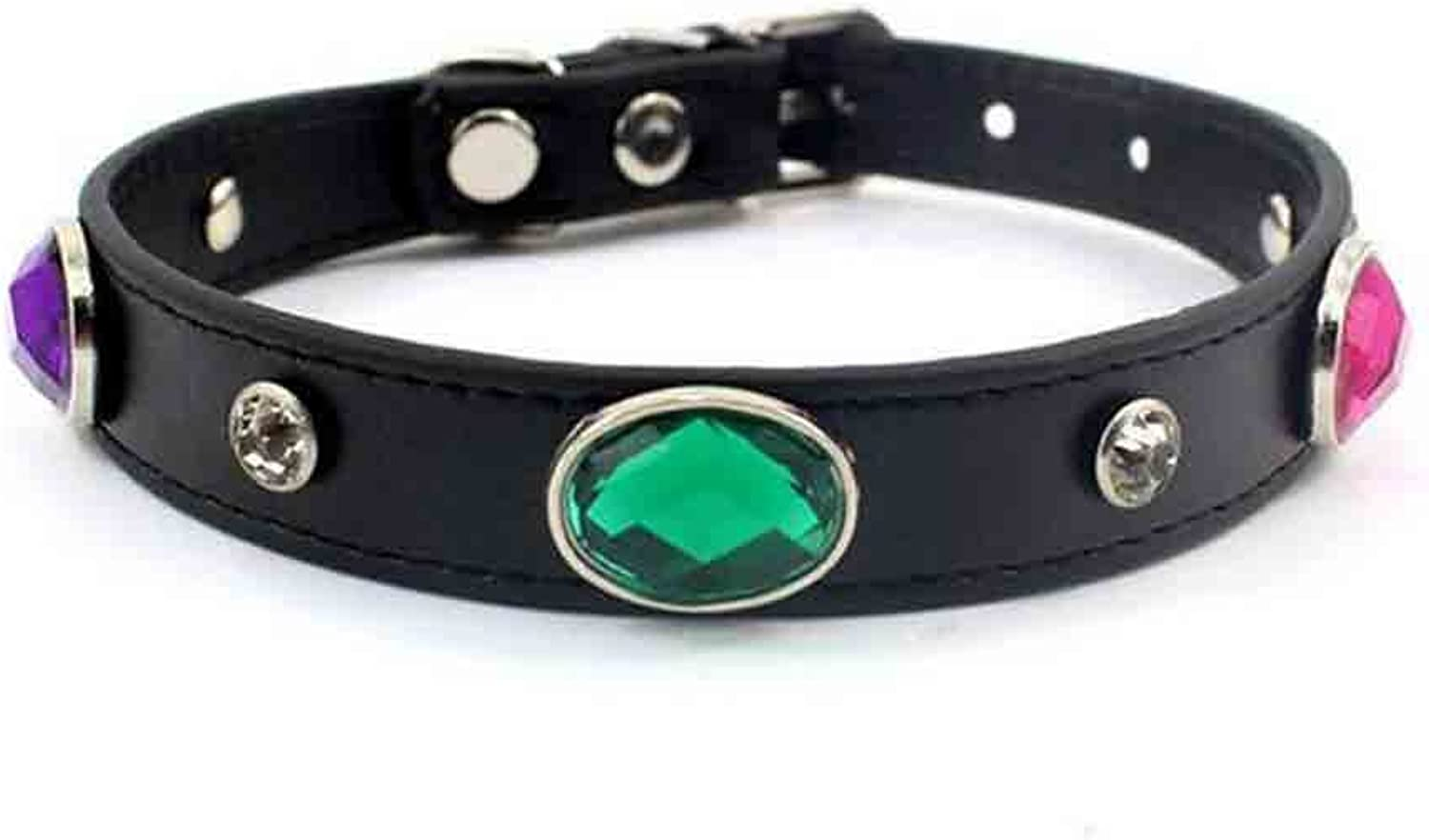 Black Leather Soft PU Collar with Rhinestone colorful Diamond Stones for Medium Size Dogs, Neck Size 10.6 12.6 , Adjustable
