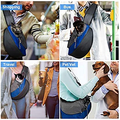 Pet Carrier Hand Free Sling Puppy Carry Bag Small Dog Cat Traverl Carrier with Breathable Mesh Pouch for Outdoor Travel Walking , Pet Supplies (blue) 2