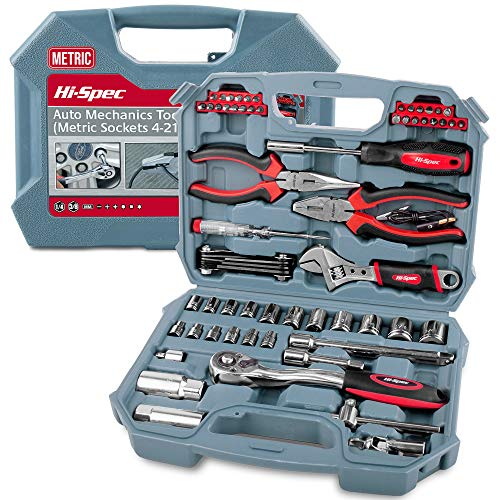 Hi-Spec 67 Piece Auto Mechanics Tool Kit Set with Metric Sockets. Car, Bike & Vehicle DIY Hand Tools for Repair & Maintenance. Complete in a Carry Case