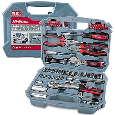 Hi-Spec Car Tool Kit, DT30016M, Auto Mechanics 3/8 , 4-19mm Metric Sockets Set, T-Bar, Extension Bar, 67 Pieces Metric Hand Tools & Screw Bits in Storage Case