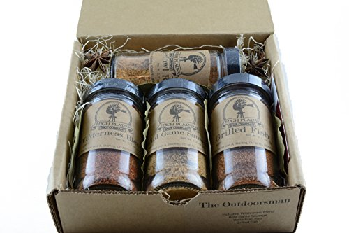 The Outdoorsman Gift Set of 4 ~ Gift Set by High Plains Spice Company ~ Gourmet Meat and Veggie Spice Blends & Rubs For Beef, Chicken, Wild Game, & All Recipes ~ Spice Blends Handcrafted In Colorado