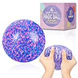 MAGICLUB Giant Stress Ball for Adults and Kids,4-Inch Jumbo Squishy Stress Relief Ball Fidget Toy, Anti-Stress ADHD Anxiety Relief Sensory Toy - Promote Calm Focus, Reduce Hand, Wrist Pain(Purple)