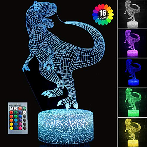 Dinosaur Toys, T Rex 3D Night Light with Remote & Smart Touch 16 Colors 3D Illusion T Rex Toy Lamp Nightlight for Birthday Gifts for Boys