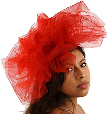 Big Tulle Mesh Feathers Fishnet Headband Fascinator Bridal Cocktail Hat
