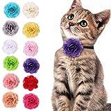 12個入 首輪の花 バレンタインデー 猫 くびわ 猫の首輪 猫用首輪 セーフティ 安全 バックル付 リボン付き おしゃれ かわいい 花グルーミングアクセサリー 調節可能 ペット用品
