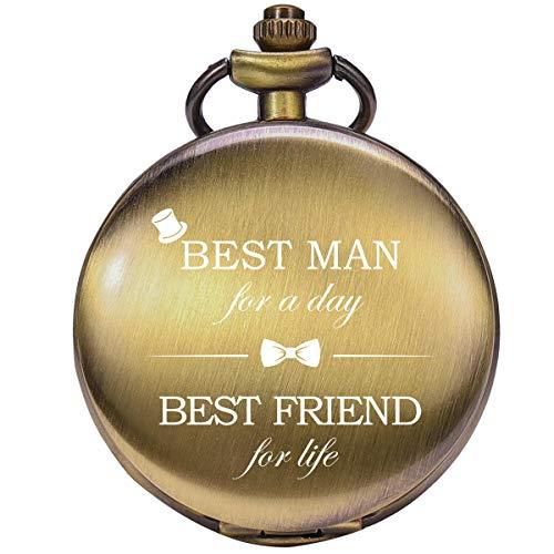 Taschenuhr - ManChDa Personalisiert Graviert Best Man Taschenuhr Quarz Fobwatch - Bräutigam Geschenke Für Hochzeit | Trauzeuge Geschenke -Trauzeuge Taschenuhr Hochzeitsgeschenk (001 Bronze)