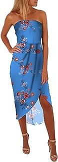 KYLEON Women Elegant Casual Short Sleeve V Neck Printed Midi Dress with Belt Summer Party Beach Top Tunic T Shirt Sundress