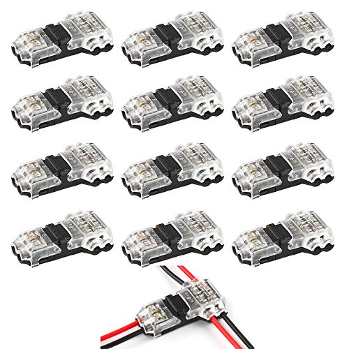VIPMOON 12Pcs Conectores de Cable de derivación en T de bajo Voltaje T Tipo 2 Pin Sin soldar Sin Cable - La conexión de los alambres Medios se Ajusta al Cable de 20/22 AWG