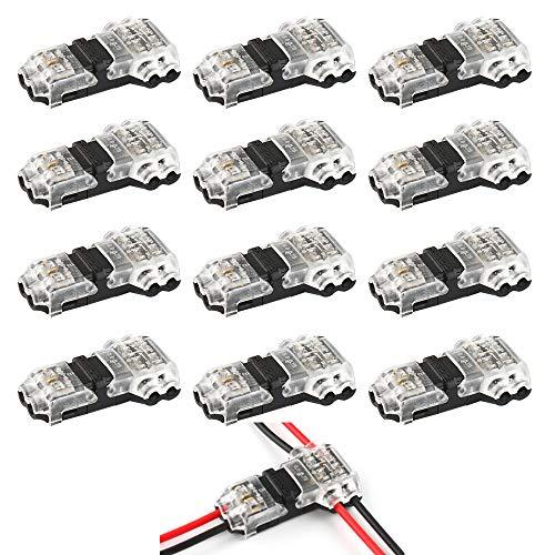 VIPMOON 12Pcs Niederspannungs-T-Abzweigdraht-Steckverbinder T-Typ 2-polig,lötfrei Kein Abisolieren für Mittelzweige in Kabelverbindungen erforderlich Für 20/22 AWG-Kabel