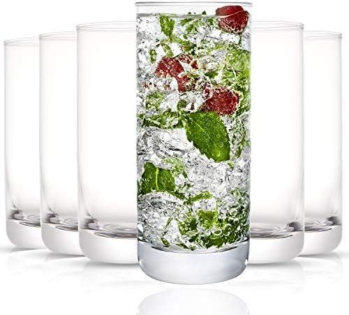 JoyJolt Faye Highball Glasses Set of 6 Tall Drinking Glasses 13oz Cocktail Glass Set Lead Free product image