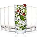 JoyJolt Faye Highball Glasses Set of 6 Tall Drinking Glasses. 13oz Cocktail Glass Set. Lead-Free Crystal Glassware. Bourbon or Whiskey Glass Cup, Bar, Iced Tea, Water, Mojito and Tom Collins Glasses