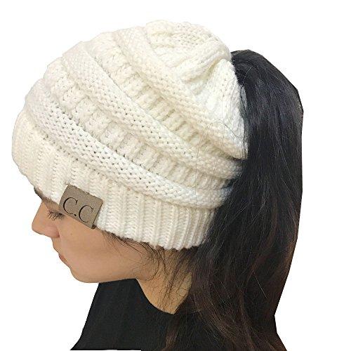 YOUFAN Frauen BeanieTail Soft Stretch Zopfmuster Unordentlich Hohe Bun Pferdeschwanz Beanie Hat Cap (Weiß)