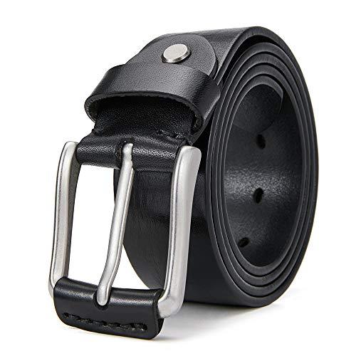 Cinturón casual para hombre, tejido a cuadros resistente, de cuero de grano completo, para hombres, negro 2, size:39-41 / waist:37'-39'
