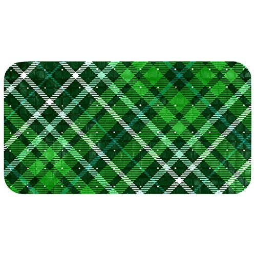 Bathroom Mats (14.7x26.9 in) Green Myrtle Aqua with Suction Cups for Adults and Kids