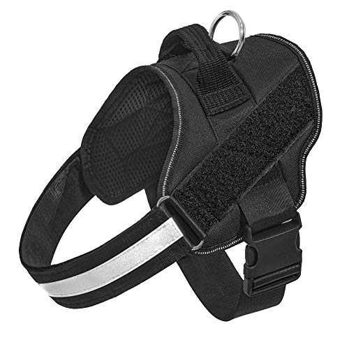 Orinci No Pull Dog Harness for Dogs Adjustable Soft Breathable Padded Pet Vest Reflective Walking Pet Halters with Easy Control Nylon Handle (M, Black)