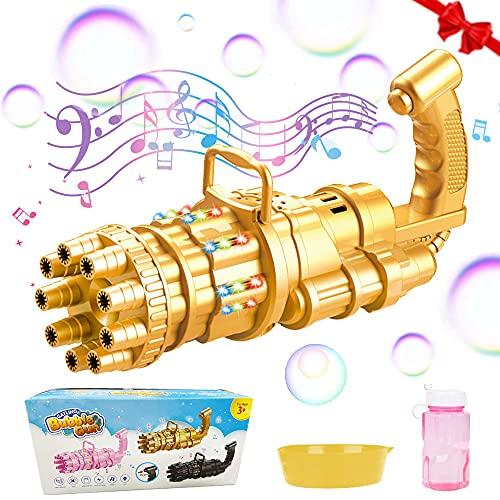 SPECOOL Bambino Macchina per Bolle, Automatica Pistola per Bolle con Musica,Gatling Bubble Machine,9 Hoyos Bubble Gun per Bolle per Compleanno Festa Nozze,2021