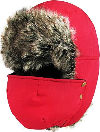 Save %55 Now! Red Trapper Fur Hat Ski Winter Warm Cap Fur Flap