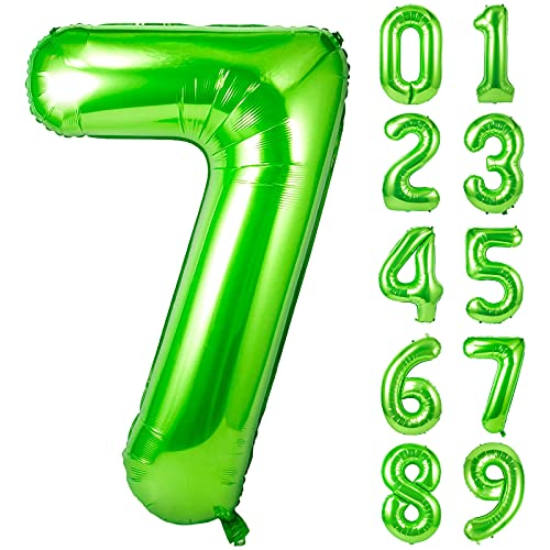 Unisun Globo verde número 7, 101.6 cm de helio gigante número de...
