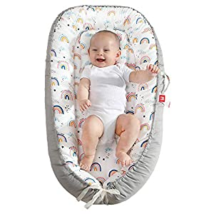 crib bedding and baby bedding baby nest baby lounger soft baby bed portable crib with pillow 100% cotton & breathable newborn lounger rainbow shower gifts essential