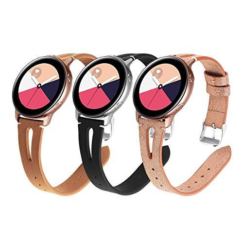 YSSNH Kompatibel für Samsung Galaxy Active Armband 20mm Leder Uhrenarmband Schnellverschluss Ersatzarmband für Galaxy Watch 42mm/Active(40mm)/Active 2 40mm/Active 2 44mm/Gear S2 Classic für Frauen