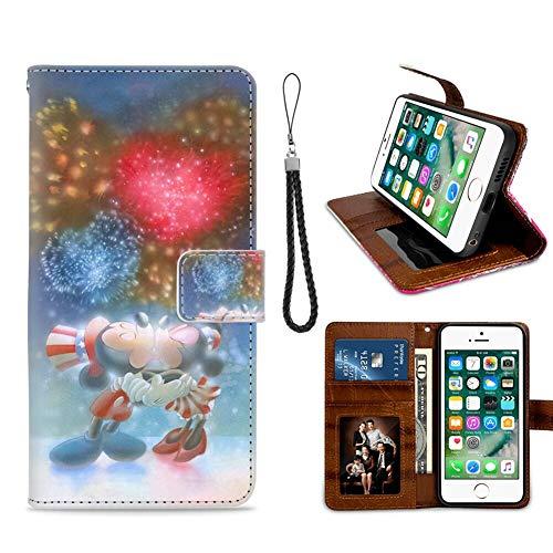 DISNEY COLLECTION Funda tipo cartera para iPhone 7/8 Plus, diseño de Mickey y Minnie Mouse, diseño de patrón de arte, titular de tarjeta de crédito, cierre magnético, funda con función atril excelente