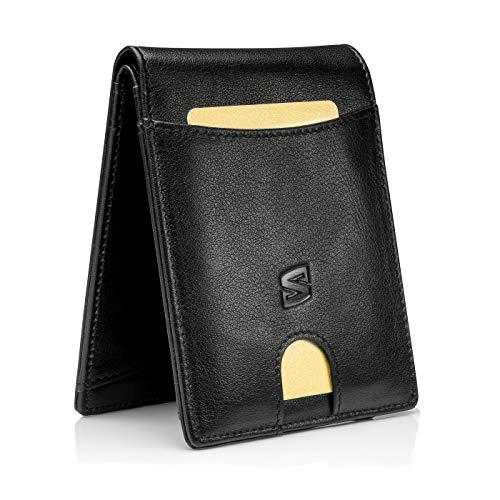 SERASAR | Premium Wallet für Herren in schwarz aus Echtleder | 11 Kartenfächer | Wahlweise mit/ohne Münzfach | RFID-Schutz | Geldscheinfach | Exklusive Geschenkschachtel | Tolle Geschenkidee
