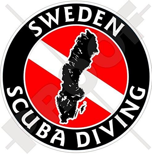 ZWEDEN SCUBA Duiken Vlag-Swedish Kaart Vorm 100mm (4