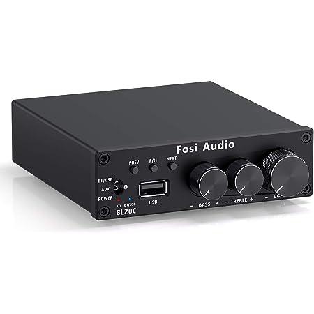 Fosi Audio BL20C Bluetooth 5.0 amplificador receptor de audio estéreo 2.1 CH Mini Hi-Fi Clase D TDA7498E amplificador integrado U-Disk Player para altavoces pasivos en el hogar subwoofer alimentado 160W x2 (con fuente de alimentación)