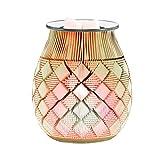 UNISOPH Aromaterapia in Vetro, lampade elettriche a Fusione di Cera con bruciatore a Cera con Luce Notturna Regolabile per Decorazioni o Regali (Motivo a Rombi)