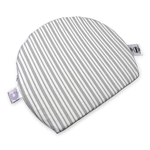 Boppy Pregnancy Wedge Pillow with Removable Jersey Pillow Cover | Gray Modern Stripe | Firm, Compact Support | Prenatal and Postnatal Positioning