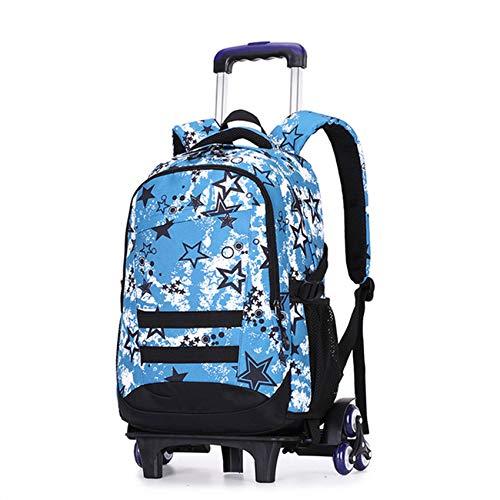 LINLIN Children Trolley Backpacks Boys Girls Portable Luggage Schoolbag Canvas Travel Bag Large Capacity Durable Waterproof Daypack,B-Six wheels