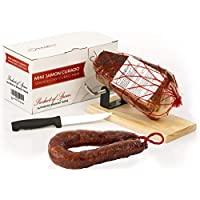 Jamón Serrano Curado Deshuesado 1 kg + Jamonero Kit + Chorizo Extra Sarta Dulce 200 gr