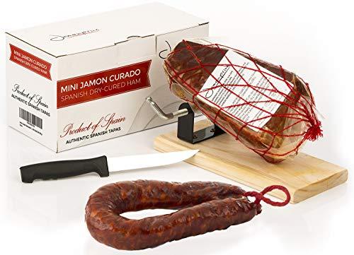 Prosciutto Crudo Serrano Spagnolo Stagionato e Disossato + Porta Prosciutto + Coltello 1 Kg (Jamon Serrano) + Chorizo Salsiccia 200 gr