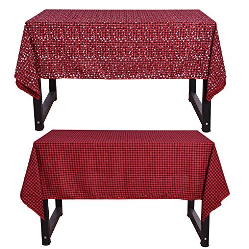 Top du Top Store Double-Face Nappe de Noël Plaid Imprimé Nappe Rectangle Table Cover Jupe pour Home Party Decor