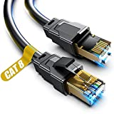 Cat 8 Ethernet Cable, 1.5Ft 3Ft 6Ft 10Ft 15Ft 20Ft 30Ft 40Ft 50Ft 60Ft 100Ft Heavy Duty High Speed Internet Network Cable, Professional LAN Cable Shielded in Wall, Indoor&Outdoor