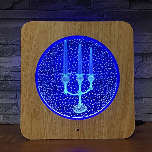 3D-lamp, 7 kleuren, optische illusie, fotolijst, van acryl, led, nachtlampje, met timed off-afstandsbediening en touch-schakelaar, tafelverlichting, USB-kabel, werkt op batterijen (kaars).