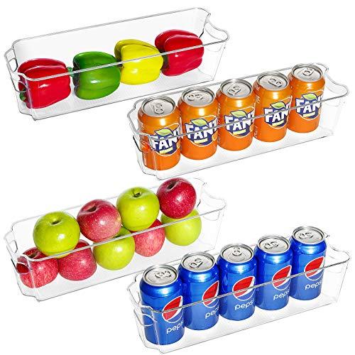 Refrigerator Organizer Bins Set of 4, Paincco Stackable Clear Plastic Food Storage Bins with Handle for Freezer, Cabinets, Fridge, Countertops, Kitchen & Pantry Organization Storage, BPA Free, Narrow