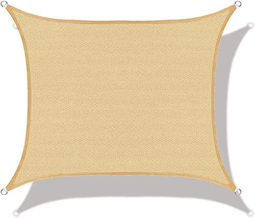 BBVS 4 * 4 m Cuadrado Patio jardín Playa Piscina sombrilla Vela toldo de protección UV, para Patio al Aire Libre, jardín, césped, pérgola, Cubierta (Amarillo)
